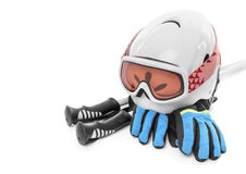 Изолированный шлем перчаток ботинок лыжи Стоковое фото RF