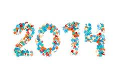 Изолированный confetti масленицы 2014 бумажный Стоковое фото RF