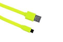 Изолированный usb салатового usb-кабеля микро- Стоковые Изображения RF