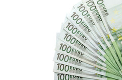 100 изолированных банкнот евро Стоковое Изображение RF