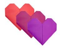 3 изолированных бумажных сердца на день валентинки Стоковая Фотография