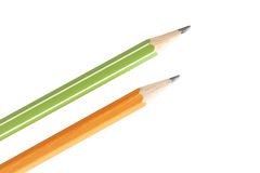 2 изолированных карандаша на белой предпосылке Стоковые Фото