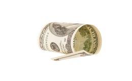 100 изолированных долларовых банкнот, Стоковая Фотография RF