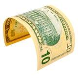 10 изолированных долларов Стоковые Фото