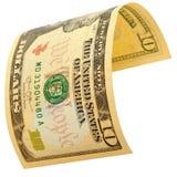 10 изолированных долларов Стоковая Фотография RF