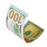 100 изолированных долларов Стоковая Фотография