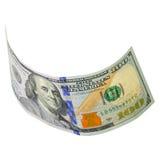 100 изолированных долларов Стоковое фото RF