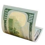 100 изолированных долларов Стоковое Изображение