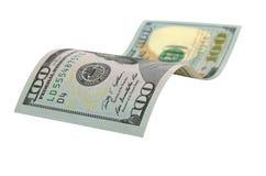 100 изолированных долларов Стоковое Фото