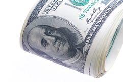 100 изолированных долларов Стоковые Фото