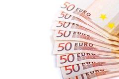 50 изолированных счетов евро Стоковое Изображение RF
