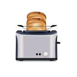 Изолированных тостер и 2 куска хлеба Иллюстрация штока