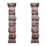 2 изолировали архитектурноакустические столбцы в деревенском стиле на белой предпосылке Стоковые Изображения