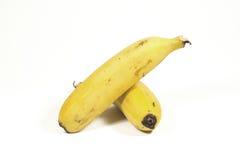 2 изолировали зрелые желтые бананы на белизне Стоковое Фото