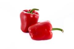2 изолировали красные перцы Стоковое Фото