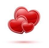 3 изолировали красные сердца Стоковые Изображения RF