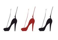 3 изолировали силуэт красной и черной elgant ноги женщины в ботинках с высокими пятками Стоковые Фотографии RF