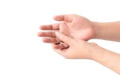 Изолят боли пальца молодой женщины стоковая фотография rf