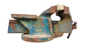 Изолят голубых стальных тисков старый стоковые фото