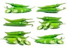Изолят зеленого перца на белой предпосылке Стоковое Изображение
