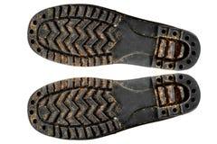 Изолят подошв ботинка старый Стоковое Изображение RF