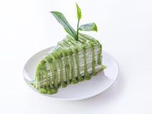 Изолят торта crepe зеленого чая Стоковое Изображение