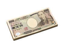 Изоляция банкноты японских иен на белизне Стоковые Фото