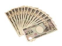 Изоляция банкноты японских иен на белизне Стоковое Фото