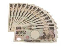 Изоляция банкноты японских иен на белизне Стоковое Изображение