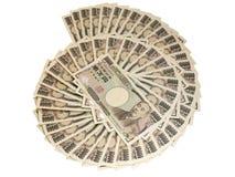Изоляция банкноты японских иен на белизне Стоковые Изображения RF