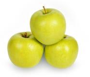 изоляция зрелые отмелые 3 dof яблок зеленая Стоковые Фото