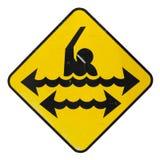 Изолированный опасный знак заплывания Стоковое фото RF