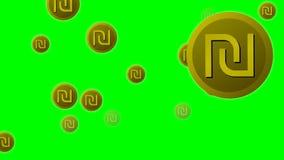 Израильские значки символа шекеля валюты летая на зеленый экран бесплатная иллюстрация