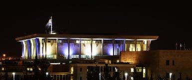 Израильский кнессет, на ноче, Иерусалим, Израиль Стоковые Фото