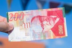 Израильский новый счет shakel старые 200 Стоковое Фото