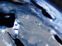 Израиль с врезанным флагом от космоса иллюстрация штока