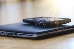 Изумительная игрушка паука в действии для того чтобы поднимать мобильный телефон Стоковые Фотографии RF