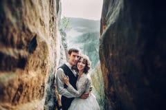 Изумительная пара свадьбы обнимает один другого в горах Стоковое Изображение