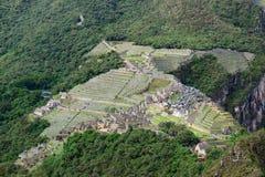 Изумительная форма кондора цитадели Machu Picchu увиденной от горы Huayna Picchu, Cusco, Urubamba, археологических раскопок Перу Стоковое Изображение