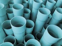 Изумительный абстрактный взгляд крупного плана сизоватого промышленного пластичного сообщения пускает по трубам, трубки стоковые фотографии rf