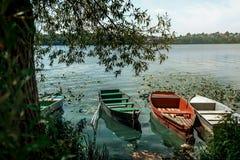 Изумительный взгляд на старых красочных деревянных шлюпках на солнечном озере на c Стоковые Фотографии RF