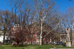 Изумительный взгляд университета национальной академии искусств в городе Софии, Болгарии Стоковые Фото