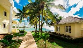 Изумительный естественный взгляд ландшафта земель и зданий курорта, в тропическом саде при дорожка водя к шикарному пляжу и стоковое фото rf