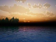 изумительный заход солнца иллюстрация вектора