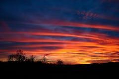Изумительный красочный заход солнца Стоковое Изображение