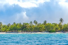 Изумительный ландшафт пляжа место природы тропическое Пальмы и голубое небо Концепция летнего отпуска и каникул Стоковая Фотография RF