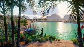 Изумительный оазис фантазии в пустыне Ясный день Далекие горы, песчанные дюны, пальмы и знойное небо с видеоматериал