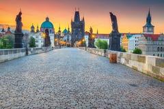 Изумительный средневековый каменный Карлов мост с статуями, Прага, чехия стоковые изображения