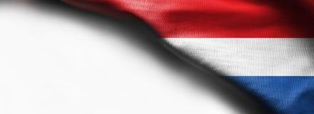 Изумительный флаг Нидерландов, Европа на белой предпосылке Стоковое Фото