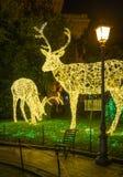 Изумительный художник ` Artista ` Luci d ` освещает в Salerno во время времени рождества, кампании, Италии Стоковые Изображения RF
